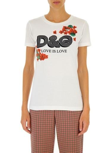 Dolce&Gabbana Dolce&Gabbana F8H32Tg7Thnw0800 Renkli Logolu Kadın Tshirt Beyaz